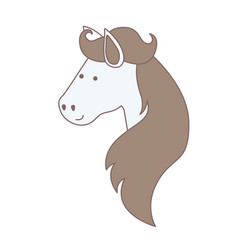 Light colors of face side view of horse with long vector