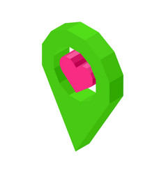 Liked geolocation icon with pink heart inside vector
