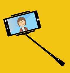 man making selfie with a selfie-stick smiling man vector image