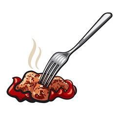 meat on fork vector image