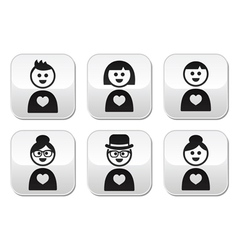 People in love Valentines Day buttons set vector image vector image