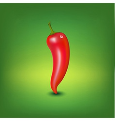 Red hot pepper with water drop vector