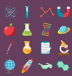 Science Icon Flat Color Set vector image