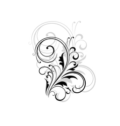 Simple black and white swirling floral element vector image vector image
