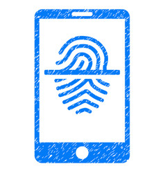 Smartphone fingerprint scanner grunge icon vector