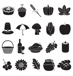 Thanksgiving and harvest icons vector