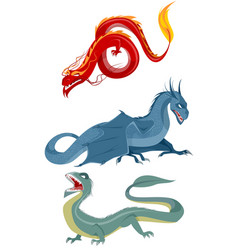 three dragons set vector image vector image