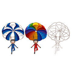 Three drawing styles of man parachute vector