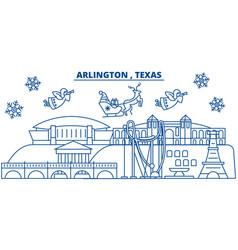 Usa texas arlington winter city skyline merry vector