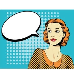 Woman with speech bubble in vector image