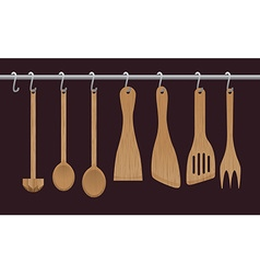 wooden utensils vector image