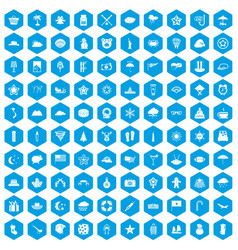 100 star icons set blue vector