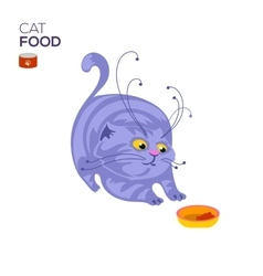 Cat with a bowl vector