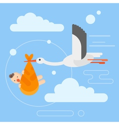 Flat style of stork caring a newborn baby in the vector