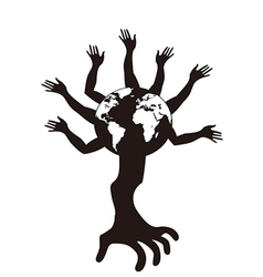 Hand tree growing from earth vector