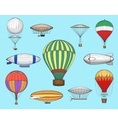 Vintage flights airships vector