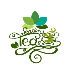 Lettering - green tea vector