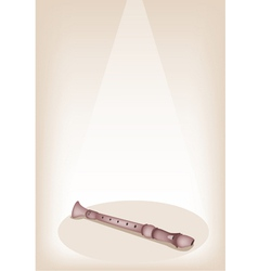 A musical recorder on brown stage background vector