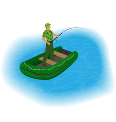 Fisherman standing in a inflatable boat with vector