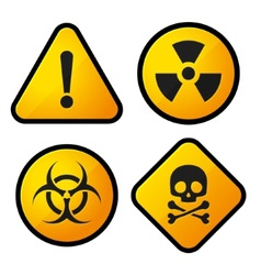Danger yellow sign icons set vector