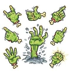Cartoon zombie hands set for horror design vector