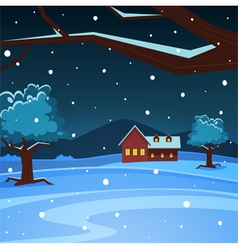 Night winter landscape vector