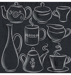 Set of different tableware on blackboard vector