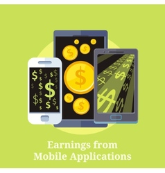 Earning from mobile applications vector