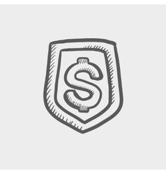 Jeans pocket with dollar symbol sketch icon vector image