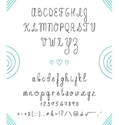 Set capital english handwriting font font handmade vector