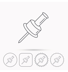 Pushpin icon pin tool sign vector