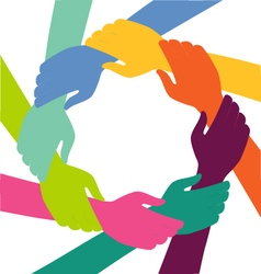 Creative colorful ring of hands teamwork concept vector
