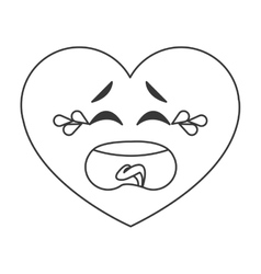 Crying heart cartoon icon vector