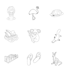 Australia icons set outline style vector image