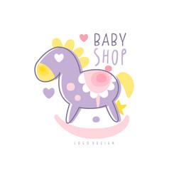 baby shop logo design emblem with rocking horse vector image