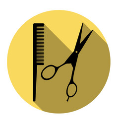 barber shop sign flat black icon with vector image vector image