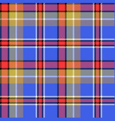 Blue madras fabric texture square pixel seamless vector