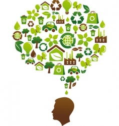 brain and eco icons vector image vector image