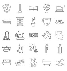 Children room icons set outline style vector
