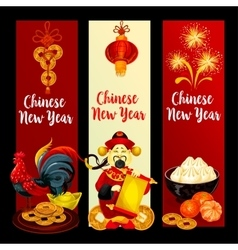 Chinese new year festive banner set design vector
