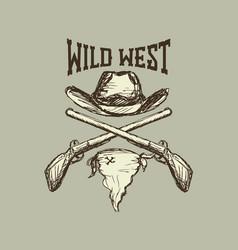 Cowboy hat and scarfgun vector