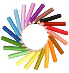 crayons sun shape vector image vector image