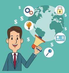 Digital marketing concept man megaphone world vector
