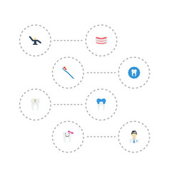 Flat icons orthodontist dental crown decay and vector