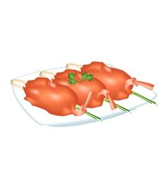 Fried shrimp with lemon grass on a plate vector