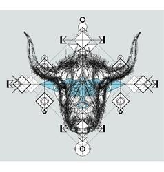 Front view of yak head doodle vector