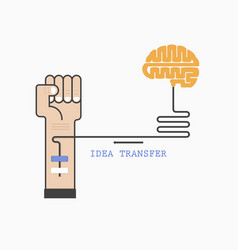 Human hand and creative brain connection vector