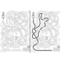 Little red riding hood maze vector