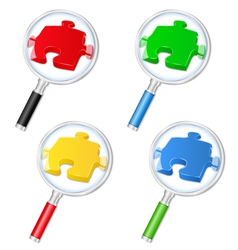 magnifying glasses with puzzle pieces vector image vector image