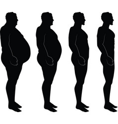 men silhouette losing weight fat thin vector image